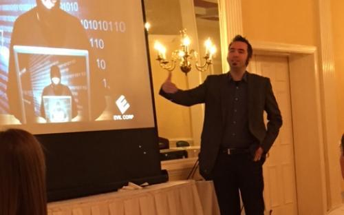 Jake Kouns gives a presentation on cybersecurity