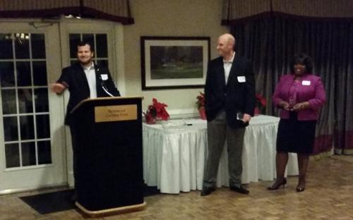 President Mark Schauss with Jeff Gumaer and Gloria Winfree